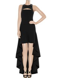Michael Kors - Black Stretch Wool Crepe And Leather Harness Gown - Lyst