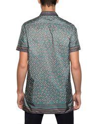 Burberry Prorsum Blue Hand Painted Geometric Poplin Shirt for men