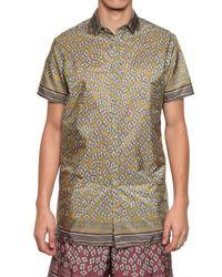 Burberry Prorsum Yellow Hand Painted Geometric Poplin Shirt for men