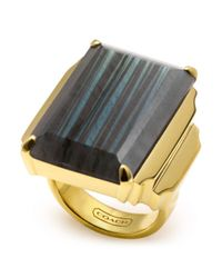 COACH - Metallic Deco Cocktail Ring - Lyst