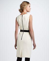 MILLY Natural Belted Sheath Dress Ecru