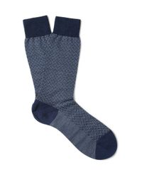 Pantherella Blue Tenison Egyptian Cotton-blend Socks for men
