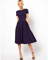 ASOS Blue Midi Dress with Short Sleeves