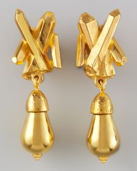 Jose & Maria Barrera | Metallic Goldplated Crystalspike Clip Earrings | Lyst