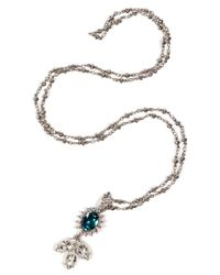 Mawi - Metallic Silver Plated Daisy Gemstone Pendant Necklace - Lyst