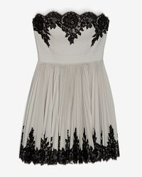 Robert Rodriguez Gray Lace Applique Strapless Pleated Flare Dress