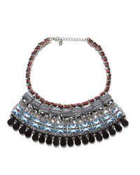 Zara | Metallic Multicoloured Ethnic Necklace with Stones | Lyst