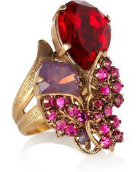 Bijoux Heart Metallic 24karat Goldplated Swarovski Crystal Ring