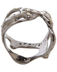 Lucifer Vir Honestus Metallic Diamond Scribble Ring