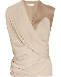 Helmut Lang Natural Leather Trimmed Draped Voile Top