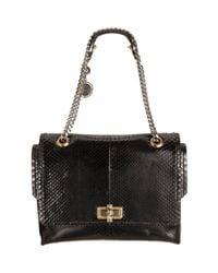 Lanvin | Black Python Happy Medium Shoulder Bag | Lyst