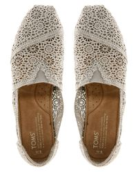 TOMS Natural Classic Silver Crochet Flat Shoes for men