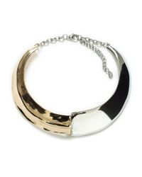 Zara | Metallic Irregular Gold and Silver Moulded Choker | Lyst