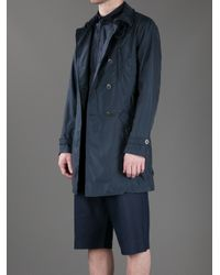 Armani - Blue Double-breasted Trench Coat for Men - Lyst