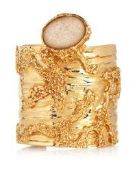 Saint Laurent - Metallic Large Arty Goldplated Glass Cuff - Lyst