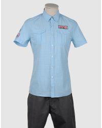 Fred Mello Blue Short Sleeve Shirt for men