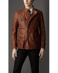 Burberry Brown Lambskin Military Field Jacket for men