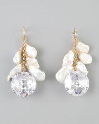 Devon Leigh - White Keshi Pearl Cubic Zirconia Drop Earrings - Lyst