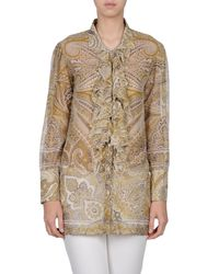 Etro Green Eagle Printed Silk Shirt - For Women