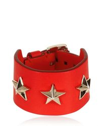 Givenchy | Red Triple Stars Leather Cuff Bracelet for Men | Lyst