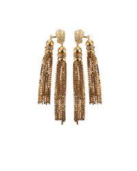 House of Lavande - Metallic Double Tassel Earrings - Lyst