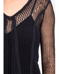 Bebe - Blue Open Weave Hilo Sweater - Lyst