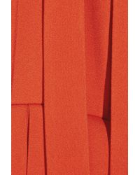 Chloé Red Pleated Crepe Dress