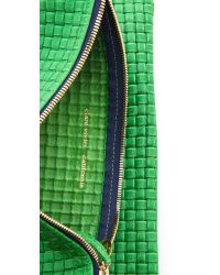 Clare V. Green Woven Fold Over Clutch