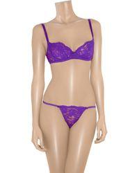 Deborah Marquit Purple Garden Of Flowers French Lace Balconette Bra
