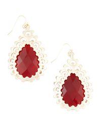 Kendra Scott Red Finn Pink Agate Earrings