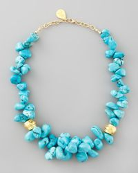 Devon Leigh - Blue Turquoise Cluster Beaded Necklace - Lyst