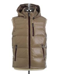 Guess Brown Hooded Down Puffer Vest for men