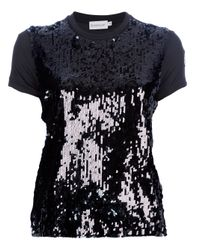 Moncler Black Sequin Embellished T-Shirt