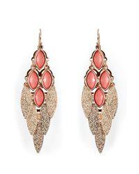 R.j. Graziano | Pink Peach Gold Toned Flutter Leaf Chandelier Earrings | Lyst