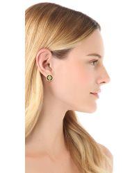 Tory Burch - Metallic Deco Logo Stud Earrings - Lyst
