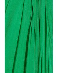 Alexander McQueen Green Strapless Draped Silkchiffon Gown