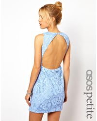 ASOS Blue Shift Dress in Crochet Lace and Cut Out Back