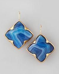Stephen Dweck Blue Agate Clover Drop Earrings