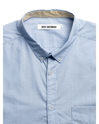 Ben Sherman Ben Sherman End On End Long Sleeve Shirt Directoire Blue for men