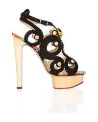 Charlotte Olympia Black Anastasia Suede and Wooden Sandals