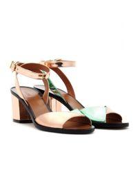 Fendi Pink Jocker Metallic Leather Sandals with Block Heel