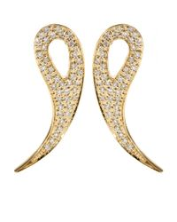 House of Waris | Metallic 18kt Gold Drop Spike Earrings With White Pavé Diamonds | Lyst
