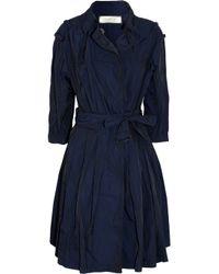 Nina Ricci Blue Silktrimmed Brushedsatin Trench Coat