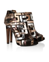 Pierre Hardy | Gold Mirrored Leather-Trimmed Suede Ankle Boots | Lyst
