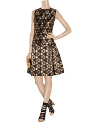 Prabal Gurung Black Printed Wool and Silk Blend Dress