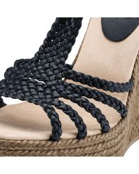 Somerset by Alice Temperley Blue Jasmine Woven Leather Wedge Sandals