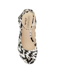 Clarks White Scent Eley Wedge Sandals
