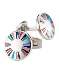 Duchamp Metallic Vortex Spiral Crystal Cufflinks for men