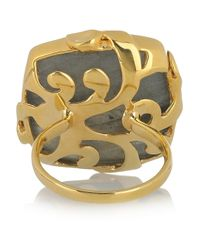 Monica Vinader Green Gold-Plated Labradorite Ring