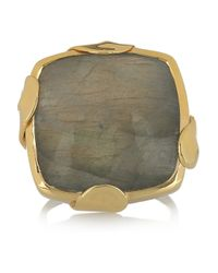 Monica Vinader - Green Gold-Plated Labradorite Ring - Lyst